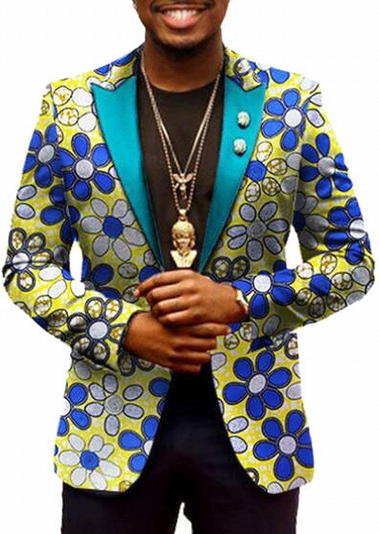 pujingge Mens Slim Fit Traditional African Dashiki Suit Blazer Jackets