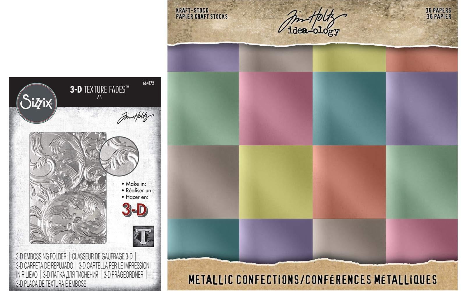 Tim Holtz Sizzix - Elegant 3D Embossing Folder and Idea-Ology Confections Metallic Kraft Cardstock - 2 Items