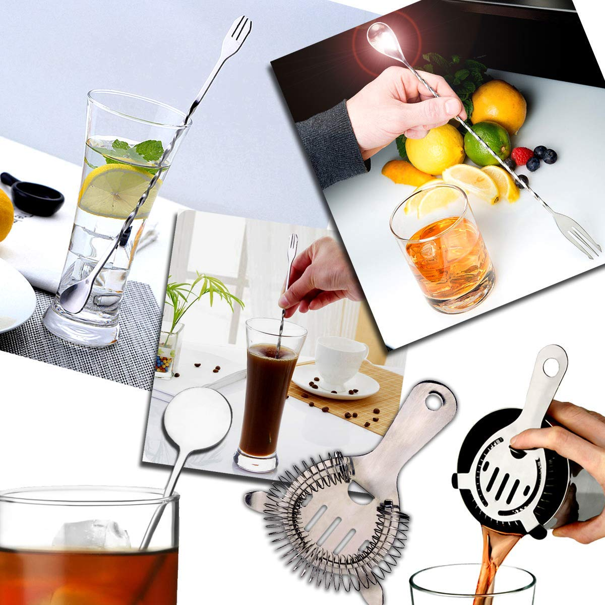 Cocktail Maker Bar Set,Premium Stainless Steel Home Cocktail Making Kit with Manhattan Cocktail Shaker,Muddler, Ice Filter-Colander, Double Ended Measure,Spirit Pourer, Stiring Spoon,Ice tong