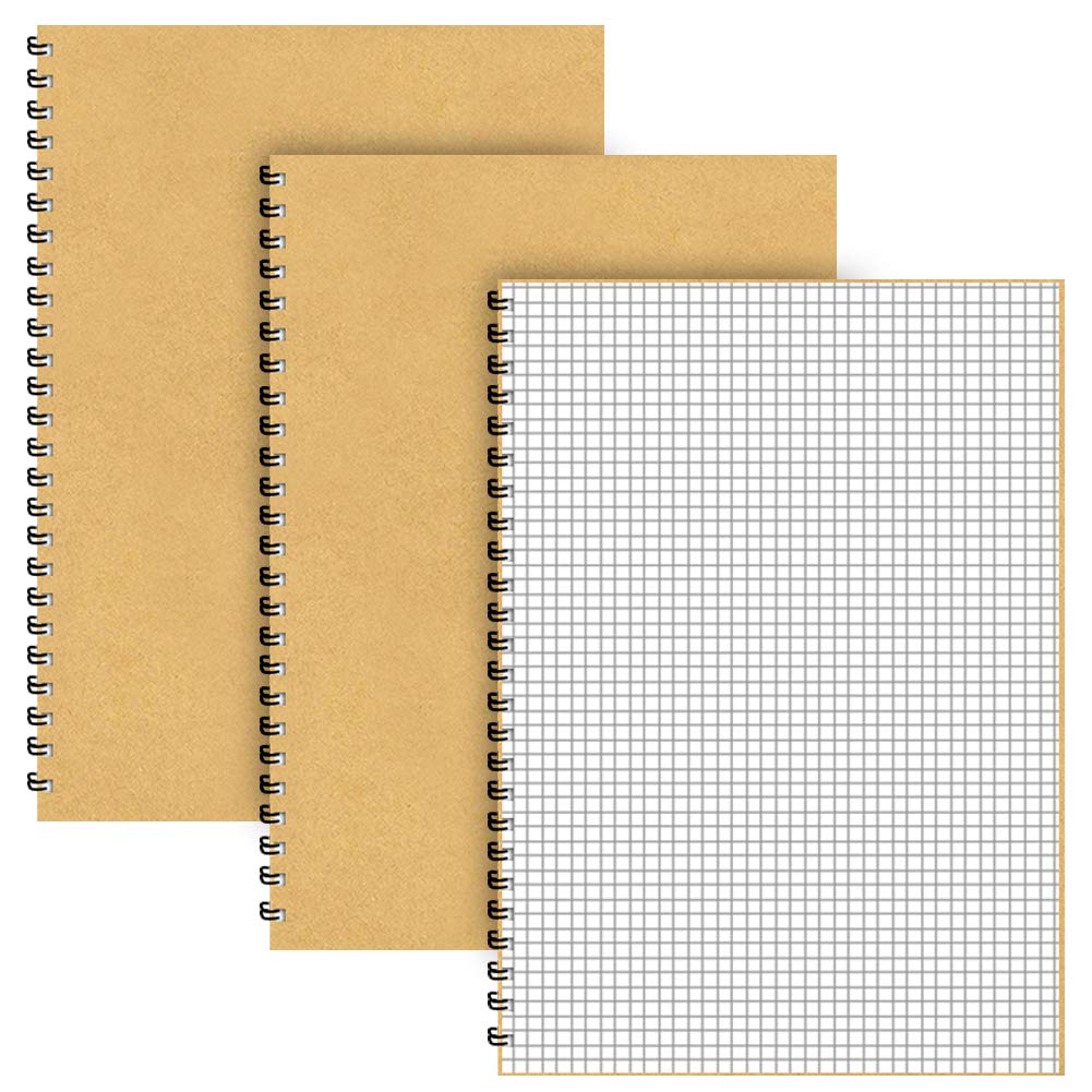 A5 Grid Spiral Notebooks,3 Pack Squared Journal Kraft Cover 5mm Square Grid/Gridded Pages,5.3 x 7.5 inch White Paper