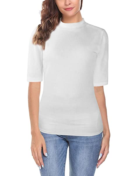 0d98e8fb Oyamiki Womens Short Sleeve Slim Fit Mock Turtleneck Stretch Comfy Basic T  Shirt Layer Top White S at Amazon Women's Clothing store:
