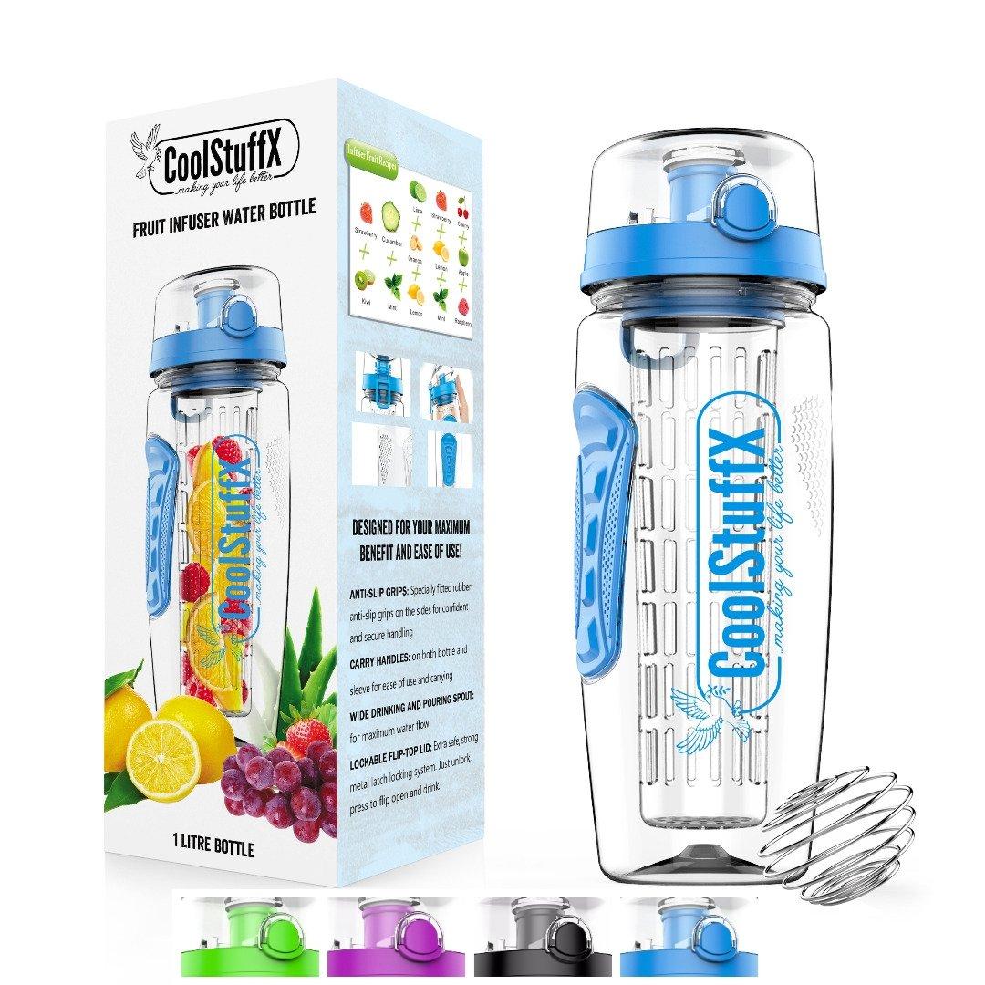 Coolstuffx 3 en 1 Infusor de Frutas + 1 litro Botella de Agua + agitador de proteínas. Guía de Tiempo de motivación. eBook Gratis de Recetas