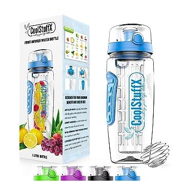 Coolstuffx 3 en 1 Infusor de Frutas + 1 litro Botella de Agua + agitador de
