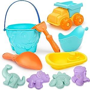 Vanplay Beach Toys Set Sand Toys with Bucket Shovel Rake and Model Tools Kit Baby Bath Toys for Boys and Girls, 10pcs