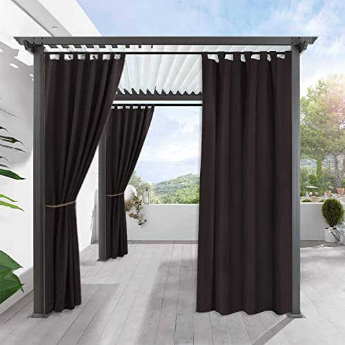 RYB HOME Patio Outdoor Curtain – Home D cor Outside Porch Curtain Stain Resist Terrace Shade for Lawn Garden Blackout Water Proof Tab Top Drapery, Single Panel, W 52 by L 108, Brown