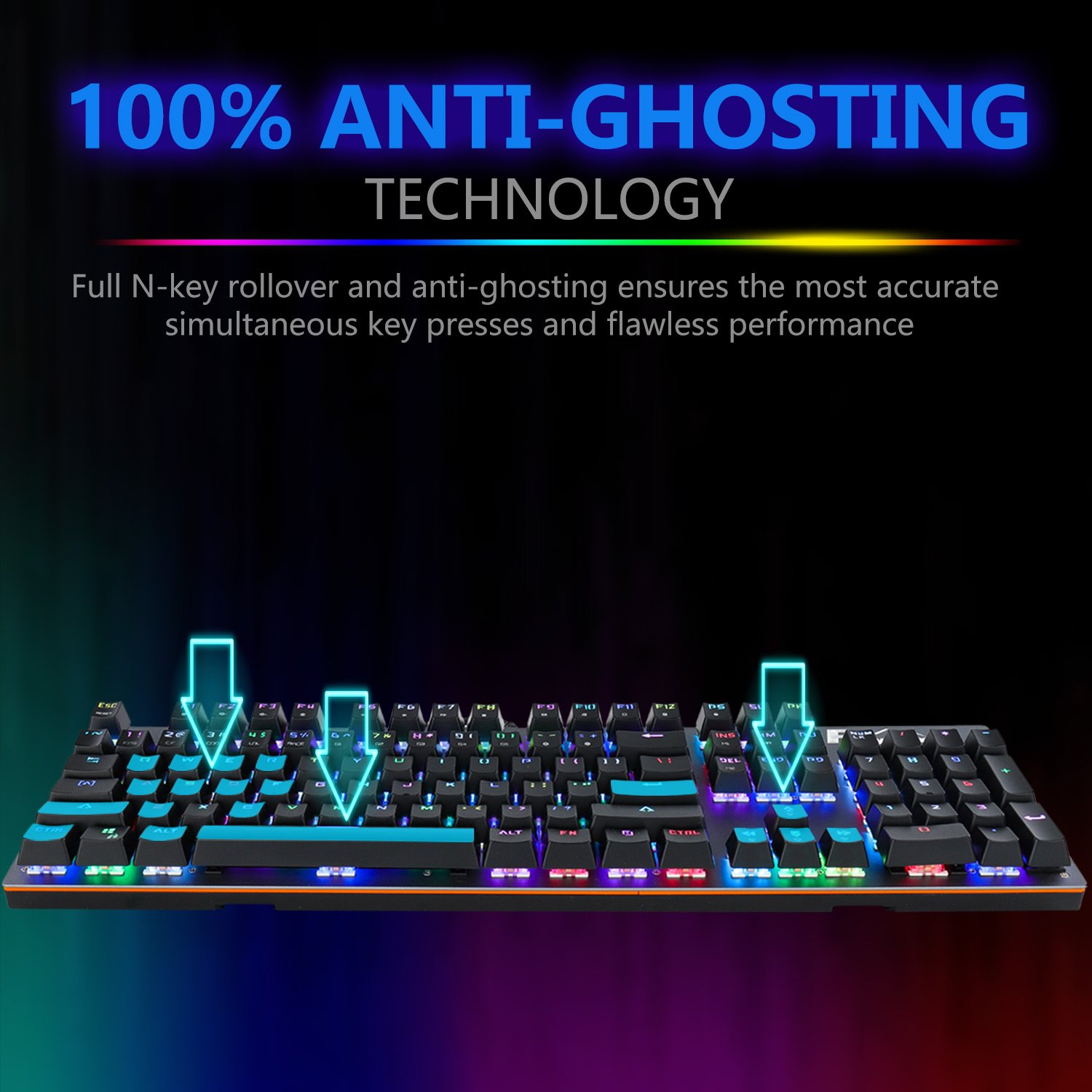Raydem RGB Mechanical Keyboard with Blue Switches, 16.8 Million RGB Backlit Mechanical Gaming Keyboard with 14 LED Backlit Modes 104-key Anti-Ghost Aluminum Plate, Non-Fading UV Coating for PC & Mac by Raydem (Image #4)