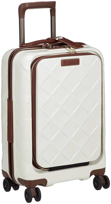 [ストラティック] スーツケース レザー&モア 機内持込 33L 3.30kg フロントオープン(前開き) 4輪ダブルキャスター 本革 ドリンクホルダー機能 可(国際線、国内線100席以上、3辺合計115cm以内) 保証付 55 cm 3.3kg B07KVBS1LJ ミルク