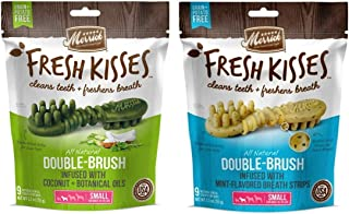 product image for Merrick Small Dog Grain Free Dental Health Bones 2 Flavor Variety Bundle, 1 each: Fresh Kisses Coconut Oil and Fresh Kisses Mint (9 Count)