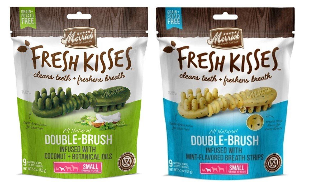 Merrick Small Dog Grain Free Dental Health Bones 2 Flavor Variety Bundle, 1 Each  Fresh Kisses Coconut Oil and Fresh Kisses Mint (9 Count)