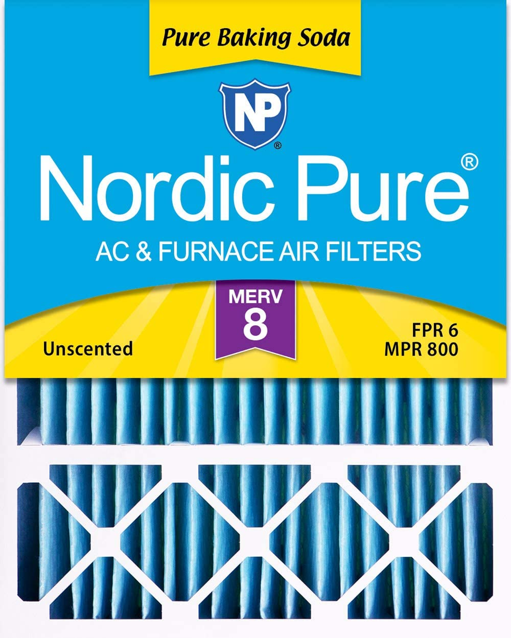 Nordic Pure 20x25x1 MERV 8 Pure Carbon Pleated Odor Reduction AC Furnace Air Filters 3 Pack