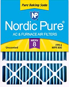 "Nordic Pure 16x25x4/16x25x5 (4-3/8 Actual Depth) Pure Baking Soda Honeywell FC100A1029 Replacement Pleated AC Furnace Air Filter, 1 Pack, 16"" x 25"" x 5"""