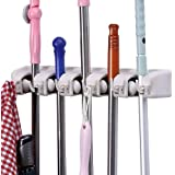 Mop and Broom Holder, 5 position with 6 hooks garage storage Holds up to 11 Tools, storage solutions for broom holders, garage storage systems broom organizer for garage shelving ideas