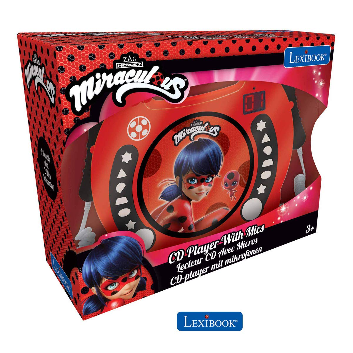 LEXiBOOK Miraculous Ladybug Radio CD, Programming Function, Headphones Jack, for Kids, with Power Supply or Batteries, Red/Black, RCDK100MI by LEXiBOOK (Image #5)