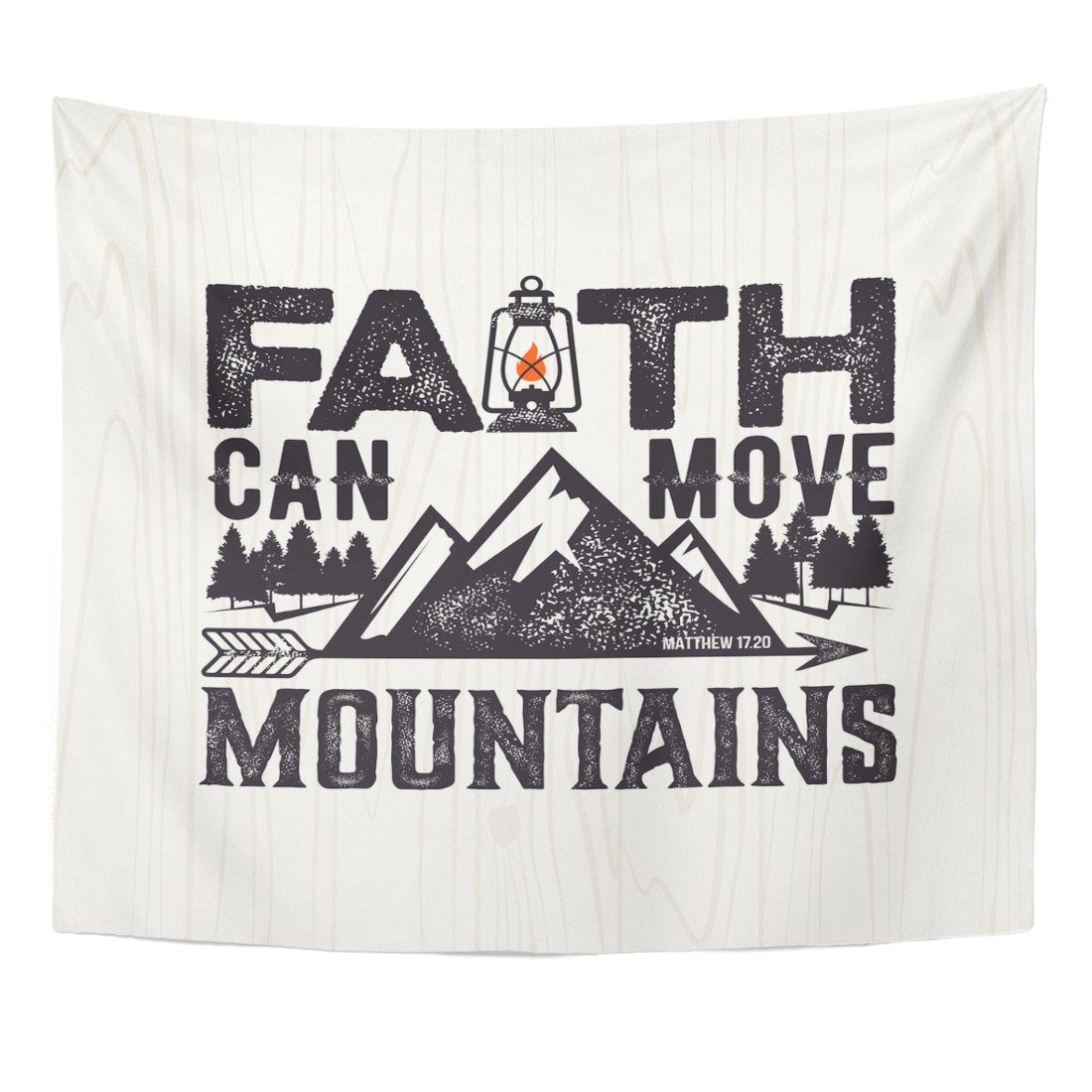 VaryHome Tapestry Jesus Biblical Christian Lettering Faith Can Move Mountains Matthew 17 20 Quote Bible Home Decor Wall Hanging for Living Room Bedroom Dorm 50x60 Inches