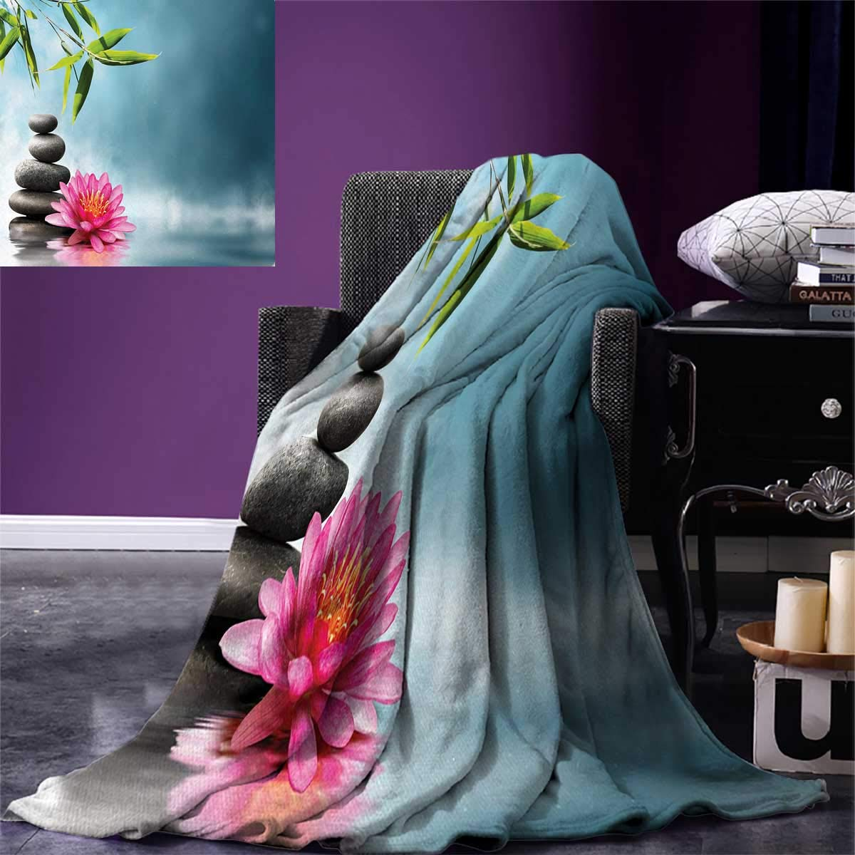 Spa Digital Printing Blanket Spa Theme with Lily Lotus Flower and Rocks Yoga Style Purifying Your Soul Theme Summer Quilt Comforter 80''x60'' Blue Pink Green