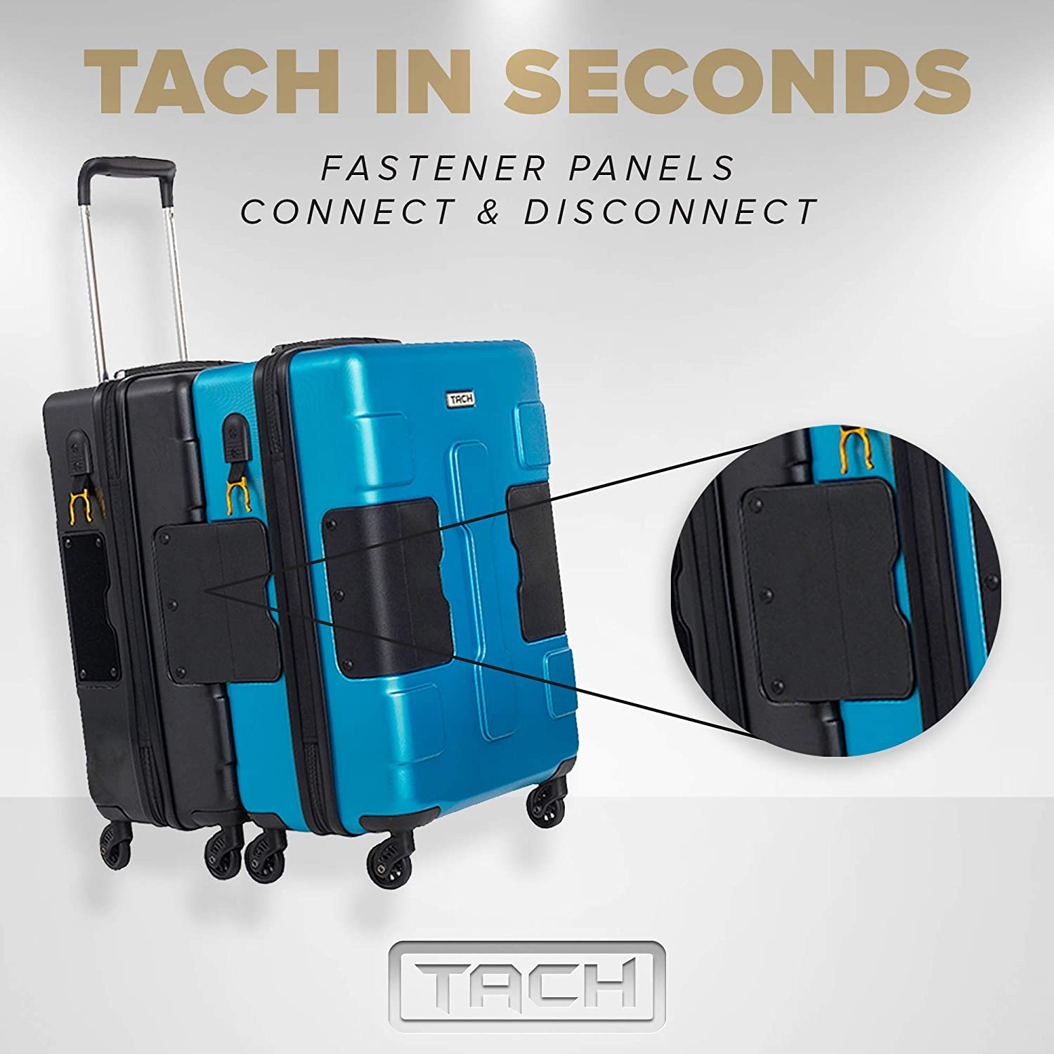TACH TUFF 3-Piece Hardcase Connectable Luggage /& Carryon Travel Bag Set Rolling Suitcase with Patented Built-In Connecting System Easily Link /& Carry 9 Bags At Once purple