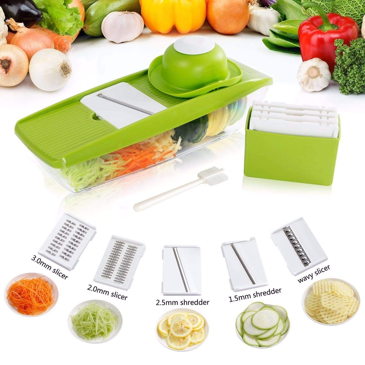 Lifewit Mandoline Vegetable Fruits Slicer Dicer, 5 Blade Veggie Cutter with Guard and Cleaning Brush, Vegetable Shredder Cheese Chopper Grater for Onions Potatos Zuchinni Fries