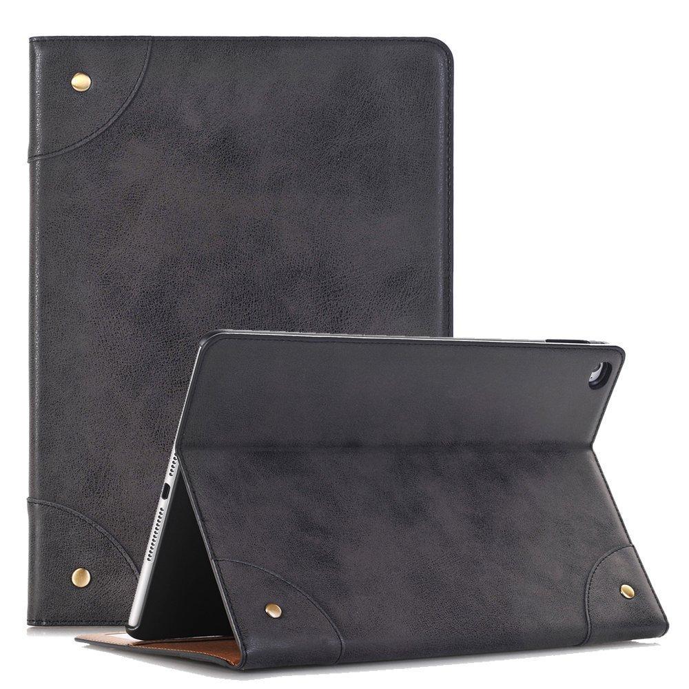 hulorryドロップ保護カバースリム軽量スマートフリップフォリオビンテージブックスタイルクリエイティブ人気iPadケース iPad 2/3/4 ブラック HL-FGSB-234-BK B075JCHGG4  ブラック iPad 2/3/4