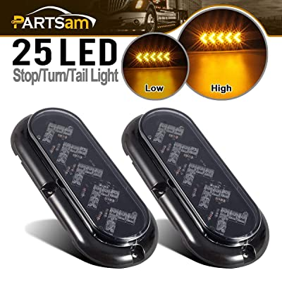 "Partsam 2Pcs 6"" Oval Arrow Turn Signal Lights Truck Trailer Amber 25LED Surface Mount Smoke Lens Waterproof Sealed Led Marker Lights Indicators Flange Mount 12V: Automotive"