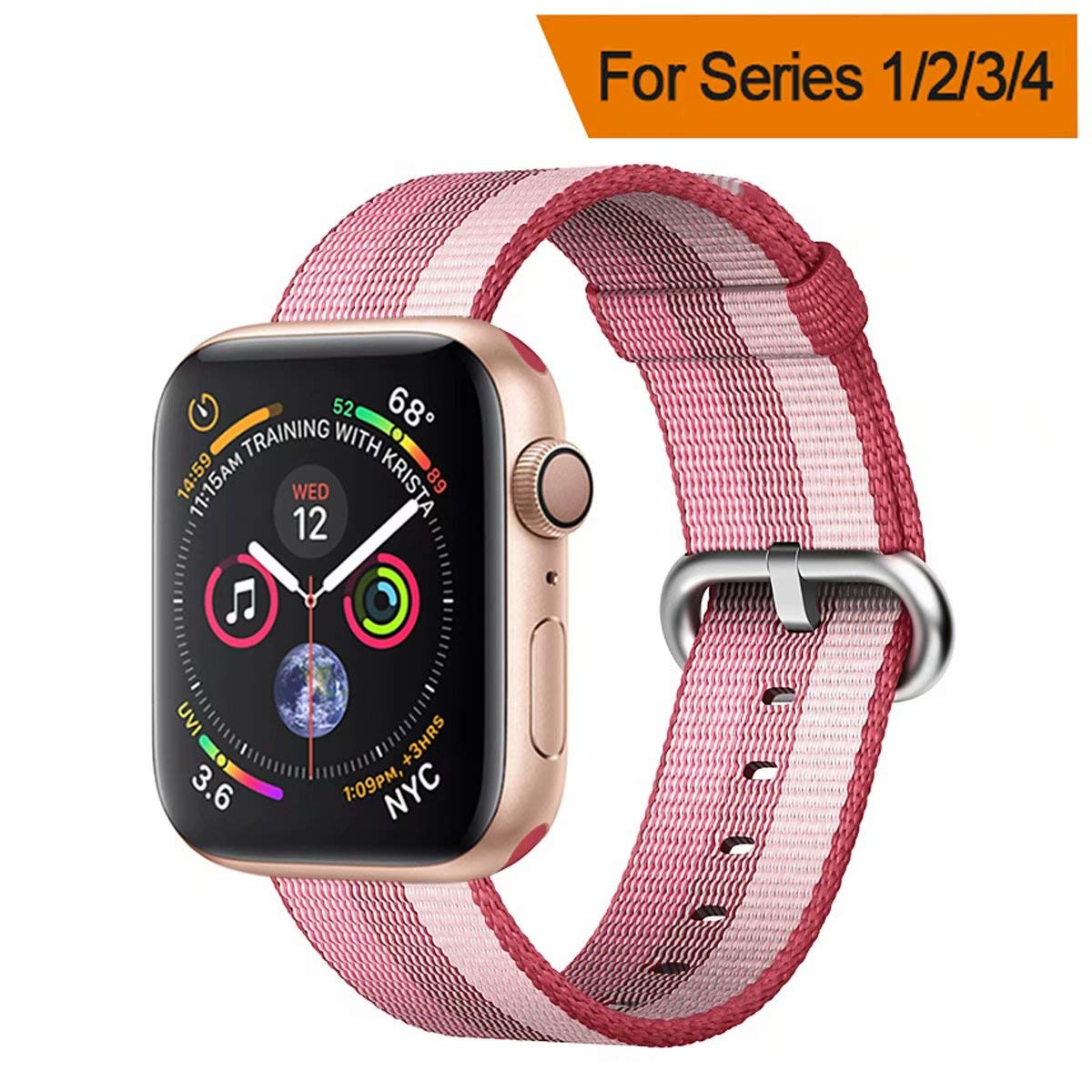 HILIMNY Compatible for Apple Watch Band 38mm 40mm 42mm 44mm Newest Woven Nylon Fabric Wrist Strap Replacement Band Compatible for Apple iWatch Series 4 3 2 1