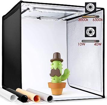 Amzdeal - Caja de luz para estudio fotográfico (50 cm, temperatura ajustable, brillo con 160 luces LED, 19,7 x 19,7 pulgadas, fondo de fotografías): Amazon.es: Electrónica