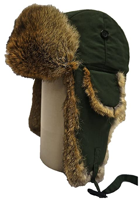 010725a3de09d Amazon.com   Hunting Alaskan Trail Brand Rabbit Fur   Trapper Russian Hat  (Olive Green Shell   Brown Fur)--Large   Everything Else