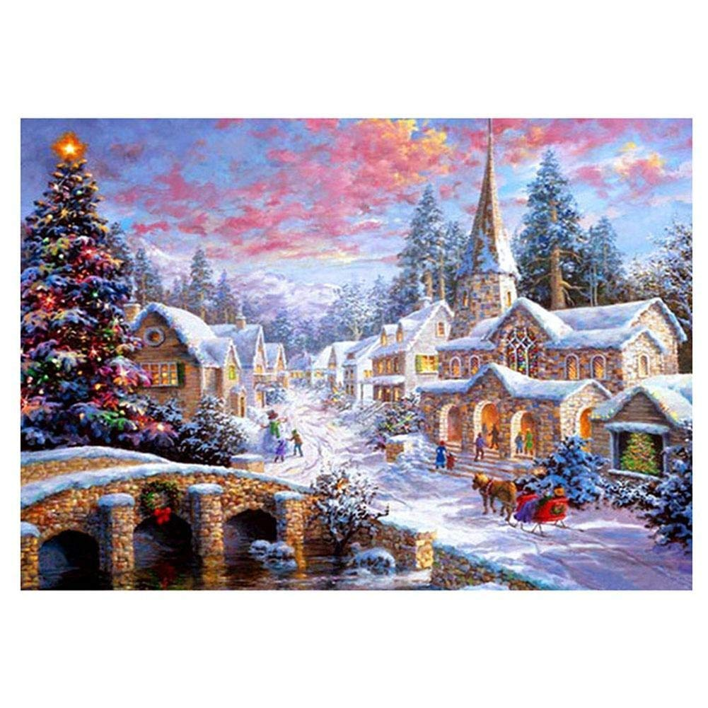 5D Diamond Painting Kits by Number Kits DIY Full Drill Christmas House Crystal Rhinestone Embroidery Arts Craft for Home Wall Decor (A, 40x30cm) feilin