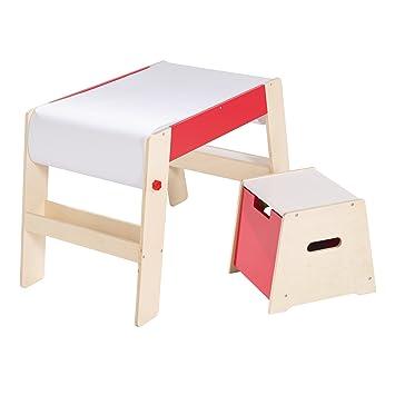 Roba Maltisch Hocker Set Kindertisch Stuhl Kombination Holz Natur Rot