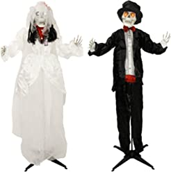"""Halloween Haunters 66"""" Animated Standing Scary Skeleton Bride and Groom Prop Decoration - Moving Arms, LED Eyes, Wedding Moans and Ghoulish Cries"""