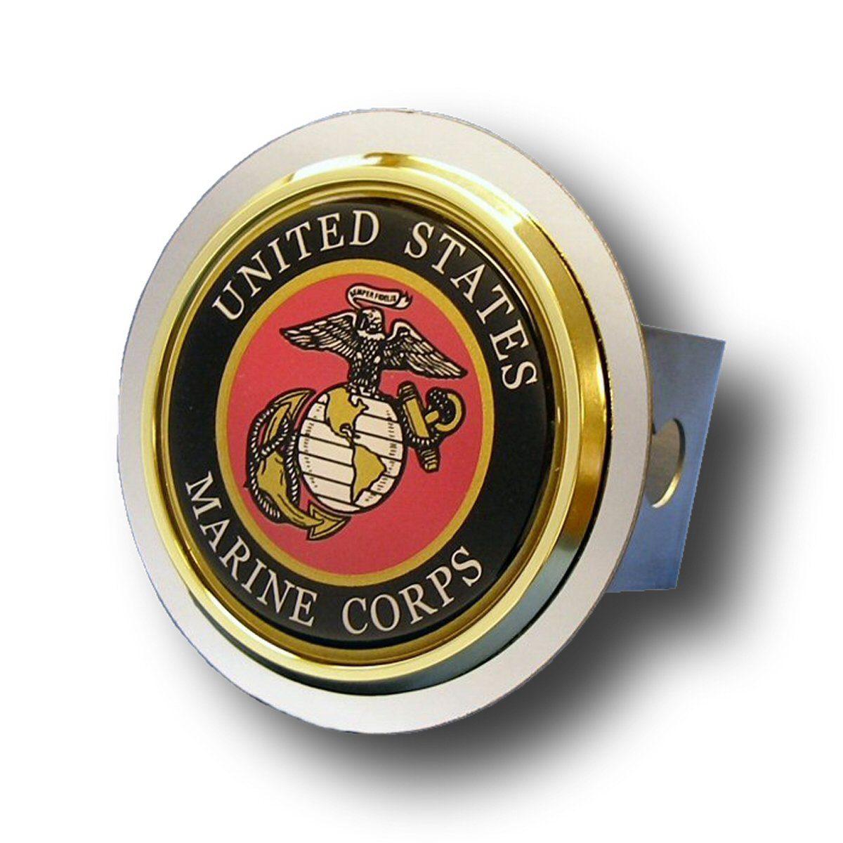 Patriotic US Marine Corps Chrome Trailer Hitch Plug by Patriotic