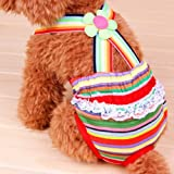 UEETEK Washable Dog Diapers Reusable Dog Wraps Suspender Sanitary Pants Diaper for Female Dogs Size:S