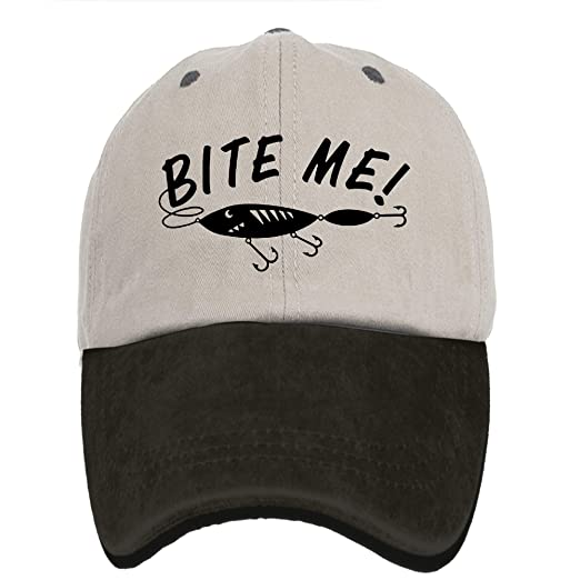 a4add8d9c64 Alility Caps Bite Me Funny Fishing Vintage Adjustable Denim Hat Trucker Cap  Dad Cap