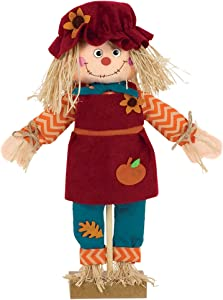 amscan Standing Scarecrow Girl Decoration, Red, 1ct