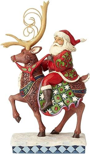 Enesco Jim Shore Heartwood Creek Santa Riding Reindeer Figurine, 10.75 , Multicolor