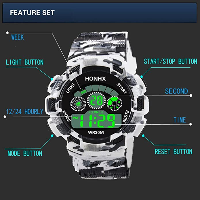 Amazon.com: XGUMAOI Mens Digital Luminous LED Analog Quartz Watches Alarm Date Sports Wrist Watch (Silver): Jewelry