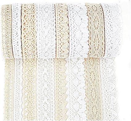 IDONGCAI Cinta de encaje de algod/ón para envolver regalos de guipure Vintage DIY costura Craft Mix 36.5m 4.5m cada uno