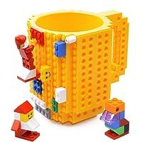 Kyonne Build-on Brick Mug, Taza de Café, Juegos de construcción, Regalo Ideal para Hombre, Chico and Chicas