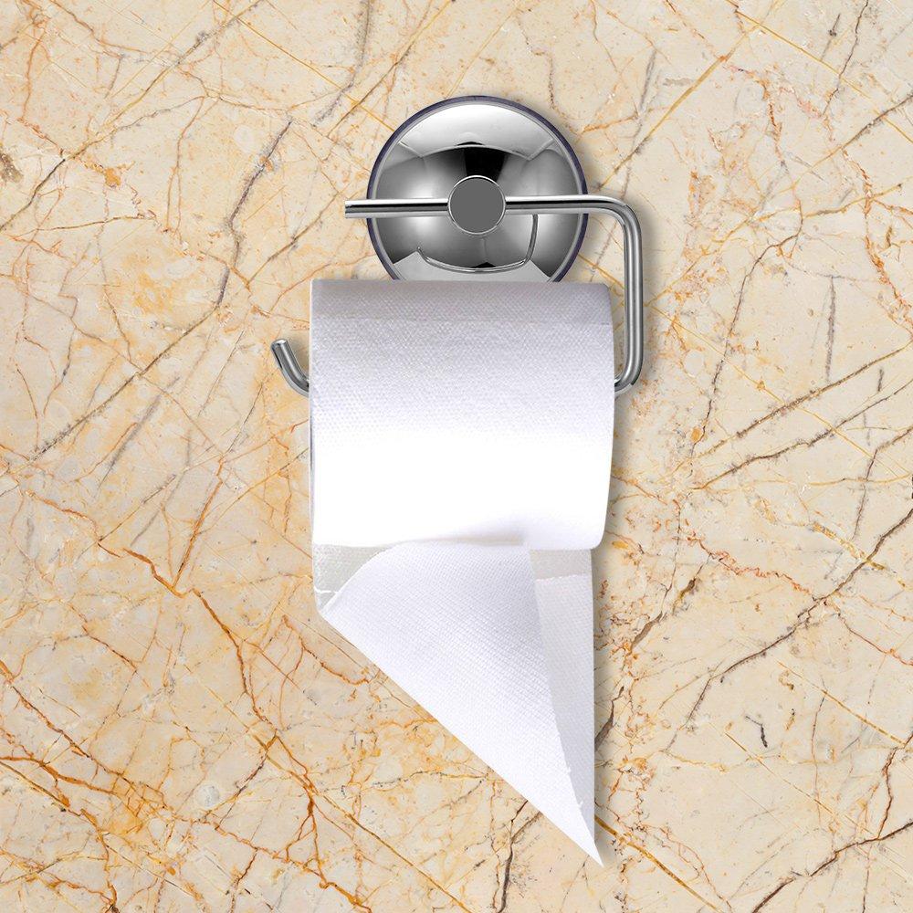 Houkiper Porta rotolo di carta igienica in acciaio inox con ventosa Staffa rimovibile per bagno cucina