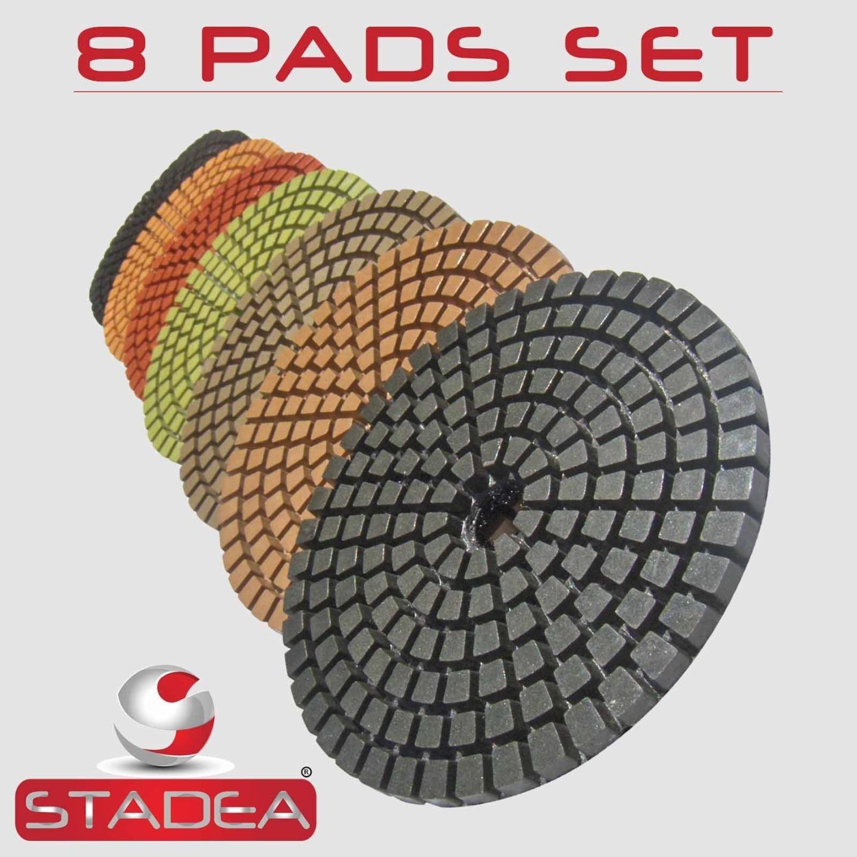 STADEA Premium Grade Wet 4'' Diamond Polishing Pads 8 Pcs Set For GRANITE MARBLE STONE Polish