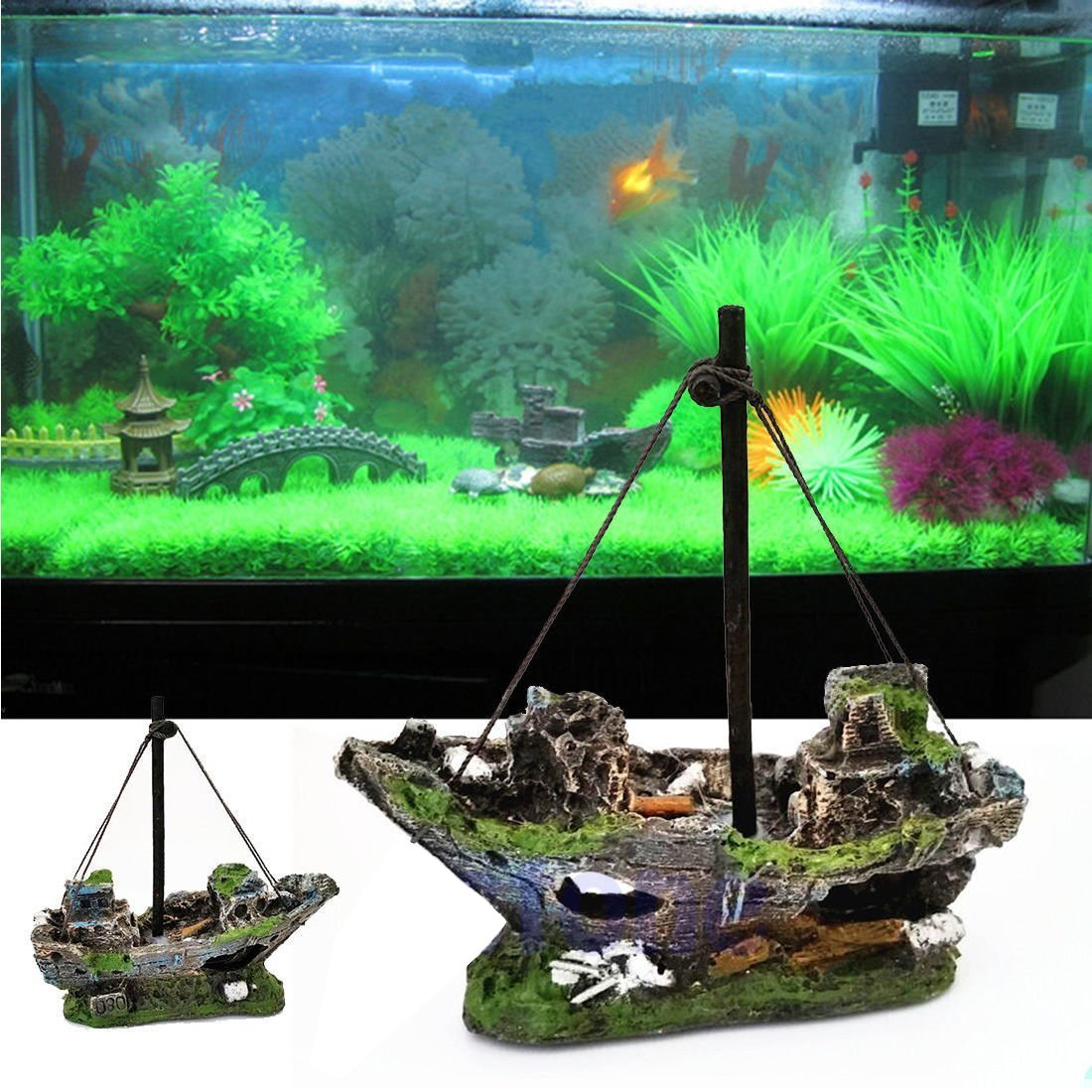 Amazon.com : UEETEK Fish Tank Accessories Ship Aquarium Ornament Decoration for Shrimp Cichild Turtle small fish : Pet Supplies