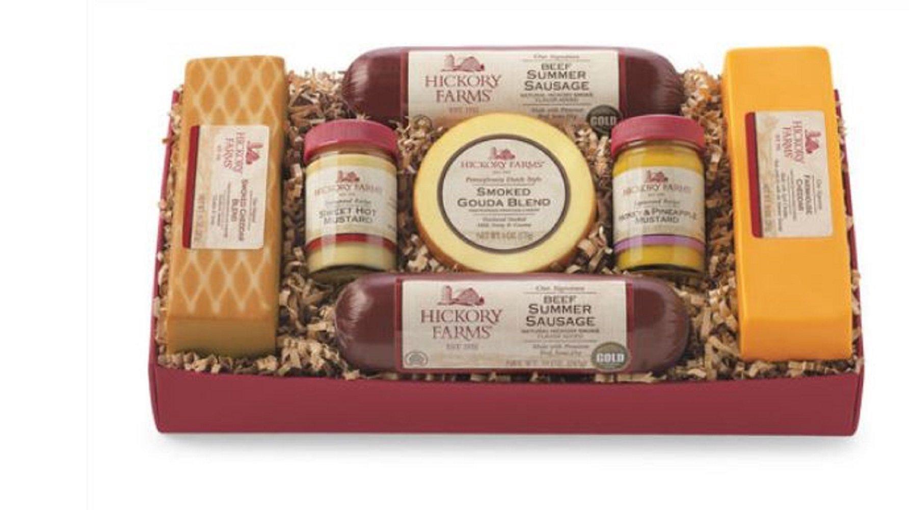 Hickory Farms Gouda Cheese Summer Sausage Holiday Gift Box Set 3lbs