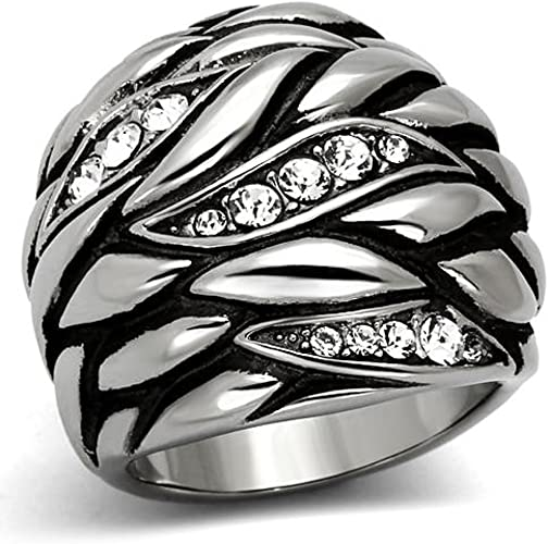 WOMEN/'S ROSE GOLD PLATED STAINLESS STEEL WIDE BAND DOME FASHION RING SIZE 5-10