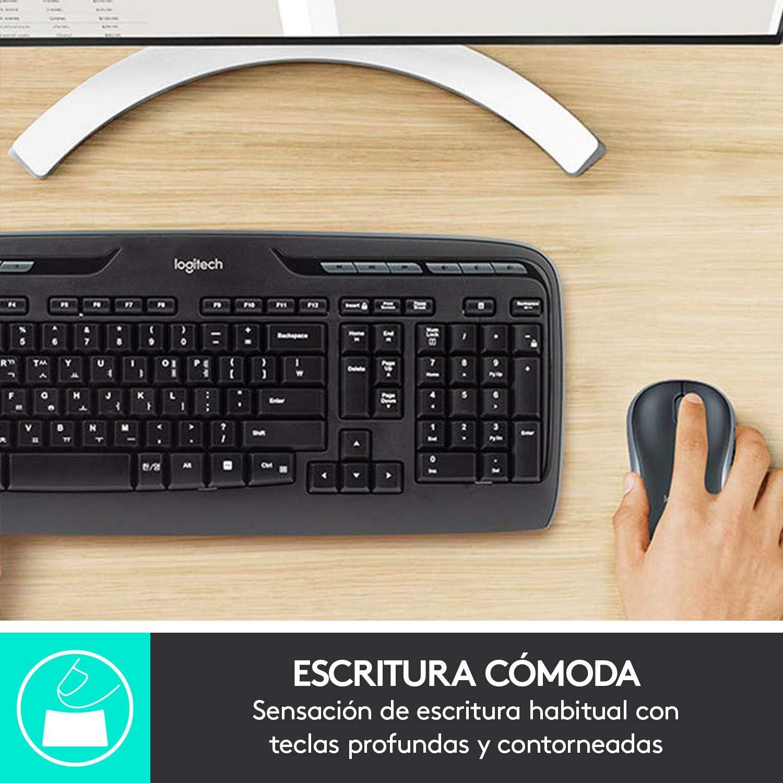 Logitech MK330 Combo Teclado y Ratón Inalámbrico para Windows, 2.4 GHz con Receptor USB Unifying, Ratón Inalámbrico Portátil, Teclas Multimedia, ...