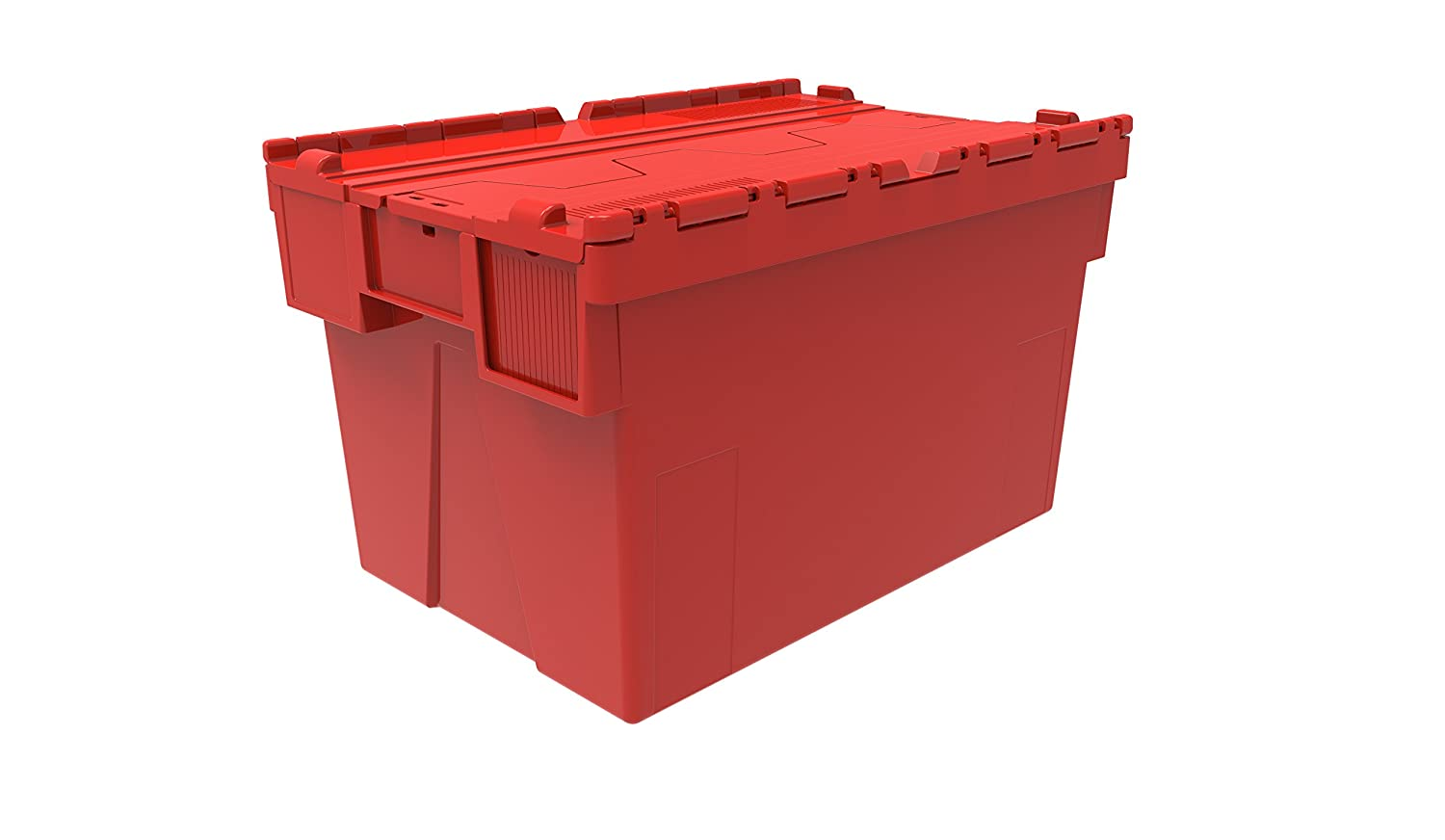 2 x Colour Coded Attached Lidded Plastic Box 65 Litres - Red, Blue or Green Plastic Storage Box Container Crate Tote with Tessellated Lid Design - Attached Lid Box (Green) by Solent Plastics