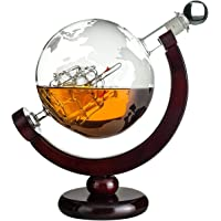 Whiskey Globe Decanter with Antique Dark Finished Wood Stand Bar