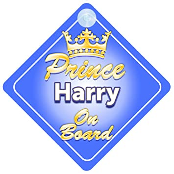 Crown Prince Harris On Board Personalised Baby Boy Car Sign