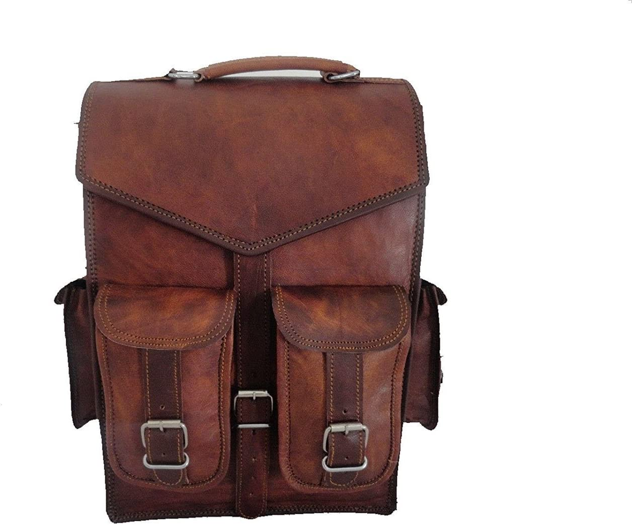 """15/"""" Mens Vintage Leather Laptop Backpack Shoulder Messenger Bag Rucksack Sling"""