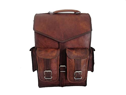e6e08d03a407 laptop bags leather bags Leather Backpack Messenger Bags Vintage Men s  Leather Backpack Bags Shoulder Briefcase Rucksack Brown Laptop Bag   Amazon.co.uk  ...