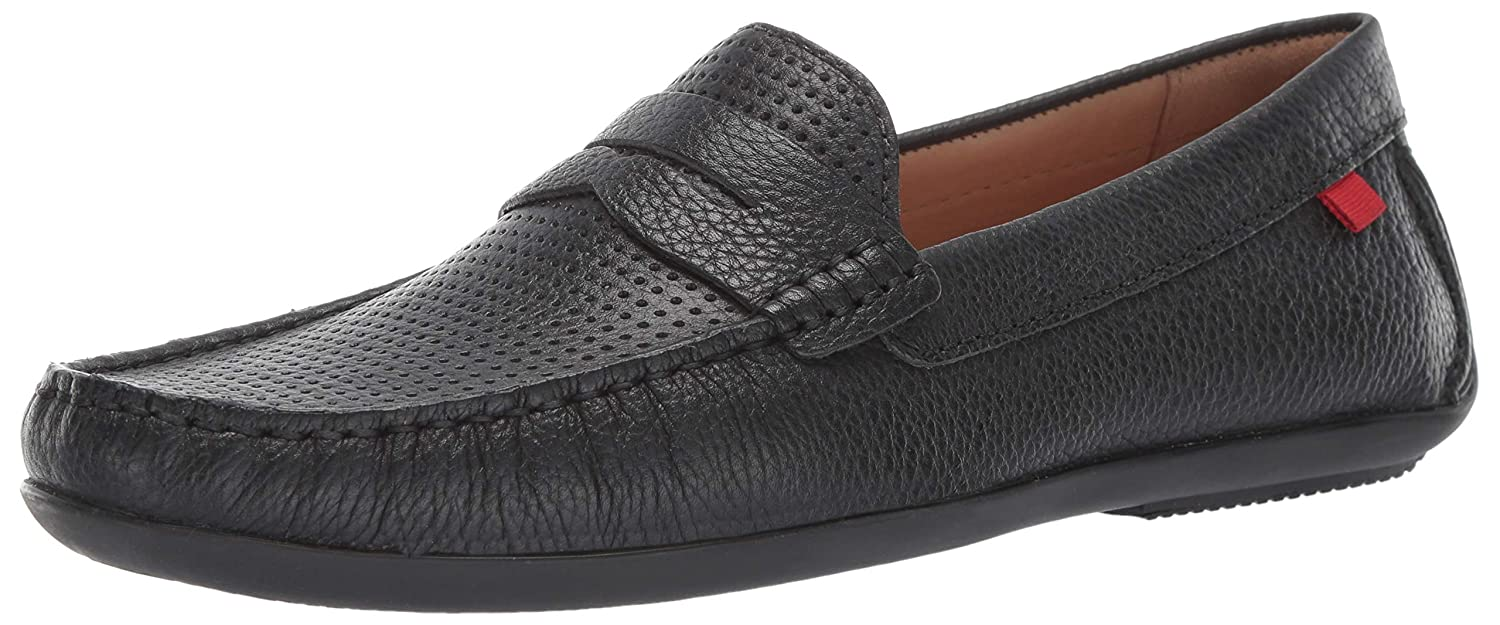Black Grainy Perforated MARC JOSEPH NEW YORK Mens Mens Genuine Leather Union Street Driver Loafer