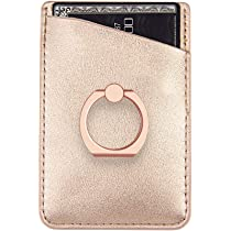 super popular beb06 0dd36 Phone Card Holder Sleeves with Ring uCOLOR Rose Gold PU Leather Wallet  Pocket Credit ID Case Pouch 3M Adhesive Sticker Grip Kickstand Compatione  with ...